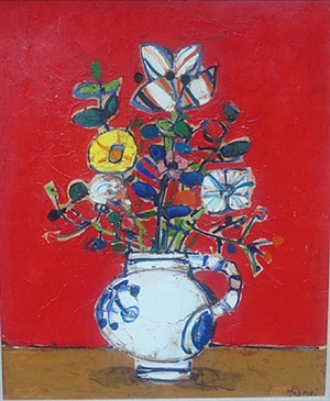 bouquet of flowers with red background by paul aïzpiri