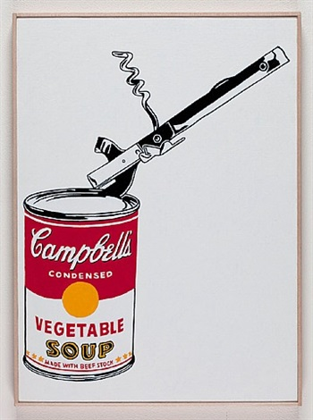 andy warhol, ' big campbell's soup can with can opener, vegetable,' 1962 by richard pettibone