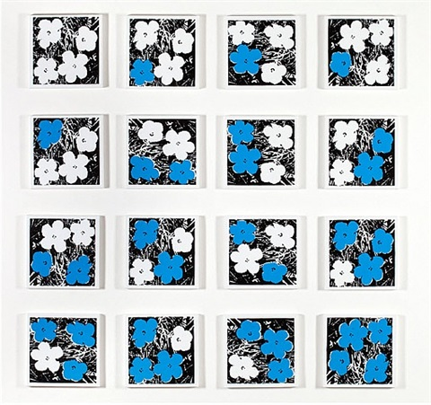 andy warhol, 'flowers,' 1965, white-blue, 16 variations by richard pettibone