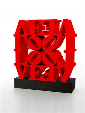 love wall, red red by robert indiana