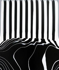 puddle painting: white/black/grey by ian davenport