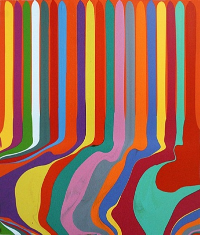puddle painting: pyrrole orange by ian davenport