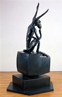 larger thinker on computer by barry flanagan