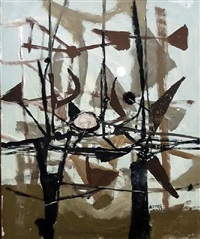 landscape with dark forms by roy turner durrant