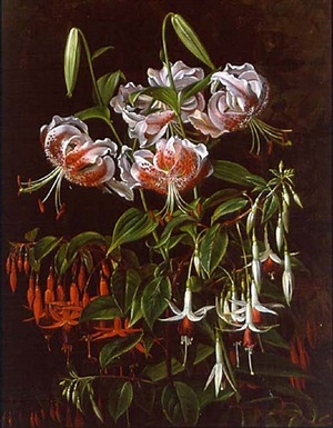 rubrum lilies and fuchsias by johan laurentz jensen