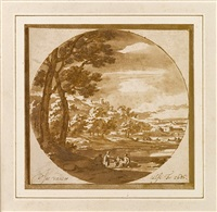 figures in an italianate landscape by jacob van der ulft