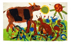 cow in a field by roger hilton