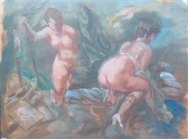 erotic scene with voyeur (erotische szene mit voyeur) by george grosz