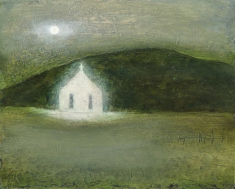 full moon white church by richard cartwright