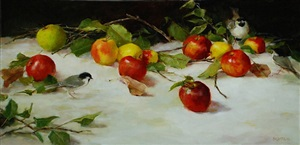 apples and chickadees (sold) by kathy anderson