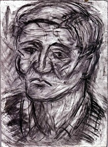 head of john lessore by leon kossoff