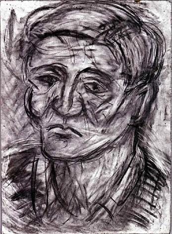 head of john lessore by leon kossoff