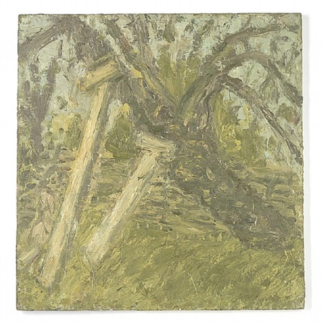 cherry tree, and young girl by leon kossoff