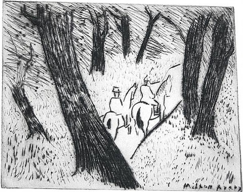 riders in the park by milton avery