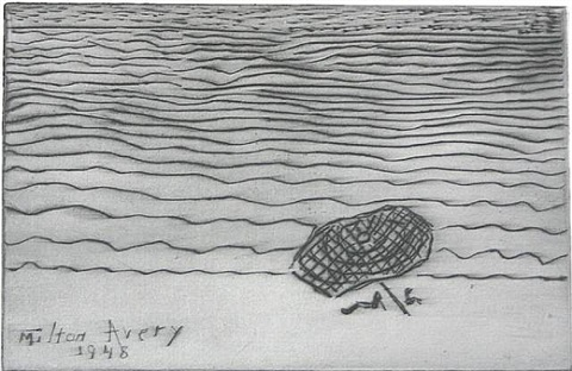 umbrella by the sea by milton avery