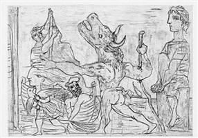 minotaure aveugle guidé par une filette, iii by pablo picasso