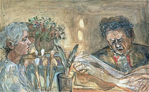 self-portrait with canetti by marie-louise von motesiczky