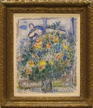 couple devant le bouquet by marc chagall