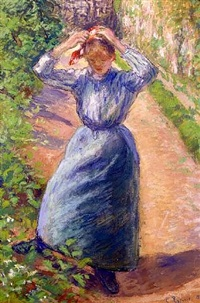 paysanne rattachant sa marmotte by camille pissarro