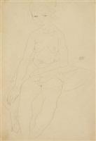 seated semi-nude by egon schiele