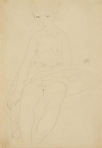 seated semi-nude by egon schiele