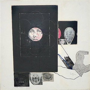 untitled (lauren bacall la monte young) by ray johnson
