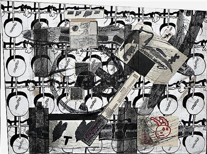 untitled (snakes and cherries) by ray johnson