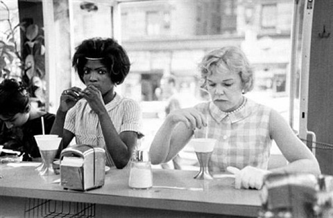 untitled, time of change (two women at lunch counter) by bruce davidson