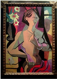 woman with necklace by jean metzinger