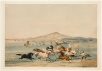 north american indian portfolio, wild horses at play (plate 3) by george catlin