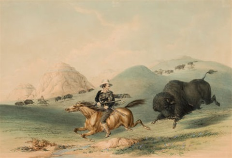 north american indian portfolio buffalo hunt chasing back plate 12 by george catlin