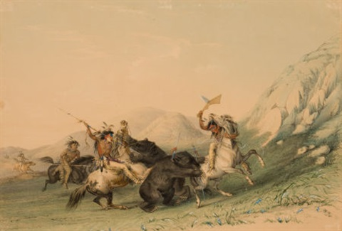 north american indian portfolio attacking the grizzly bear plate 19 by george catlin