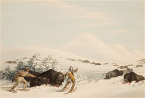 north american indian portfolio buffalo hunt on snow shoes plate 15 by george catlin