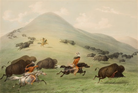 north american indian portfolio buffalo hunt horseback plate 6 by george catlin