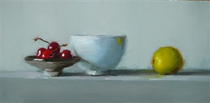 cherries with white bowl by susan nally