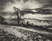 somerset under snow, roman hill fort, somerset by don mccullin