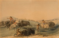 north american indian portfolio, buffalo hunt, chase (plate 7) by george catlin