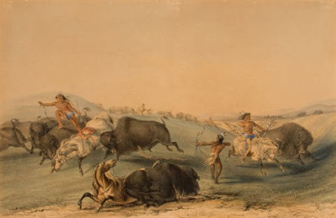north american indian portfolio buffalo hunt chase plate 7 by george catlin