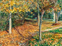 carpet of leaves, giverny by will hicock low