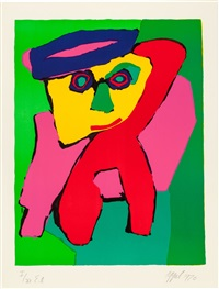 personnages (complete portfolio of 8 prints) by karel appel