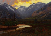 moraine park at sunset, estes colorado by charles partridge adams