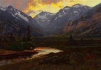 moraine park at sunset, estes colorado by charles partridge adams