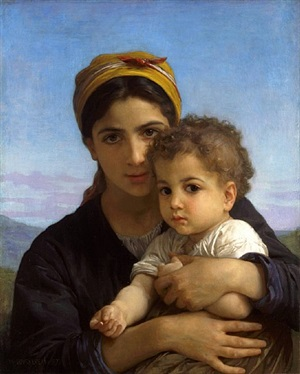 jeune fille et enfant (girl with a child) by william adolphe bouguereau