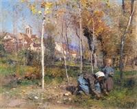 vue de chartèves à l'automne ou les derniers beaux jours by léon augustin lhermitte