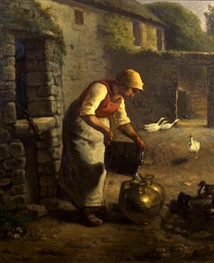 peasant woman pouring milk by jean françois millet
