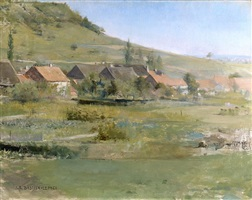 landscape with a village, environs of damvillers by jules bastien-lepage