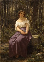 a girl in the woods by hugues merle