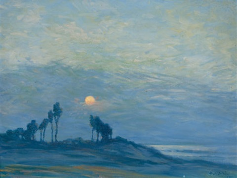 sunset over the trees by birger sandzen