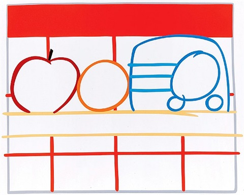 still life with apples, oranges & radio by tom wesselmann