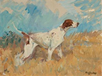english setter on watch by frank b. hoffman